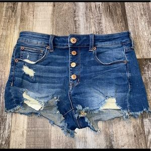 AE button fly hi rise shortie blue jean shorts